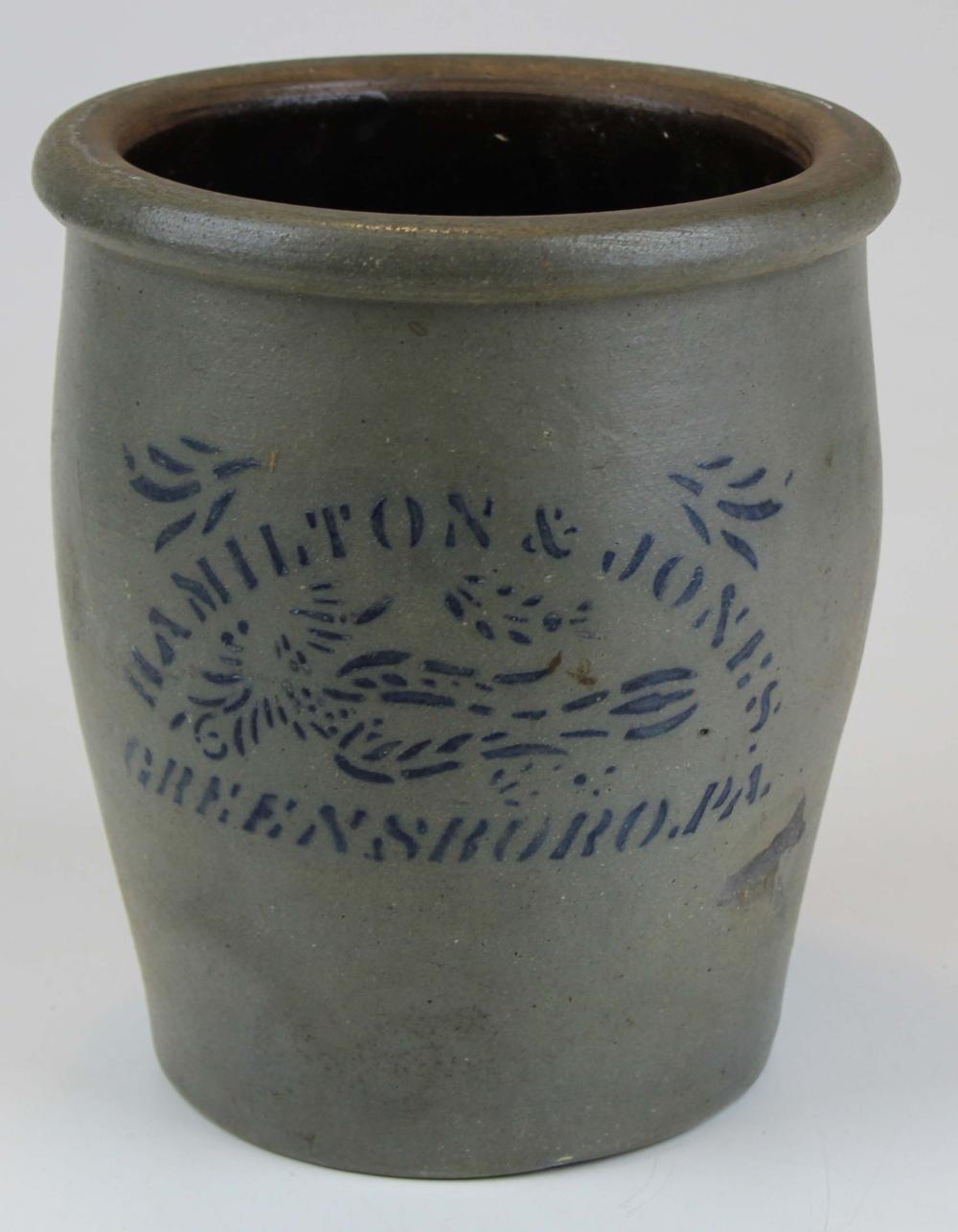 Hamilton & Jones, Greensboro, PA Stoneware Crock