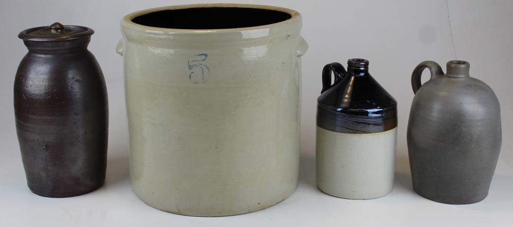 4 Pieces of Unmarked Stoneware