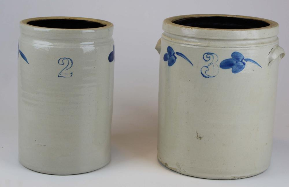 2 Blue decorated Stoneware Crocks