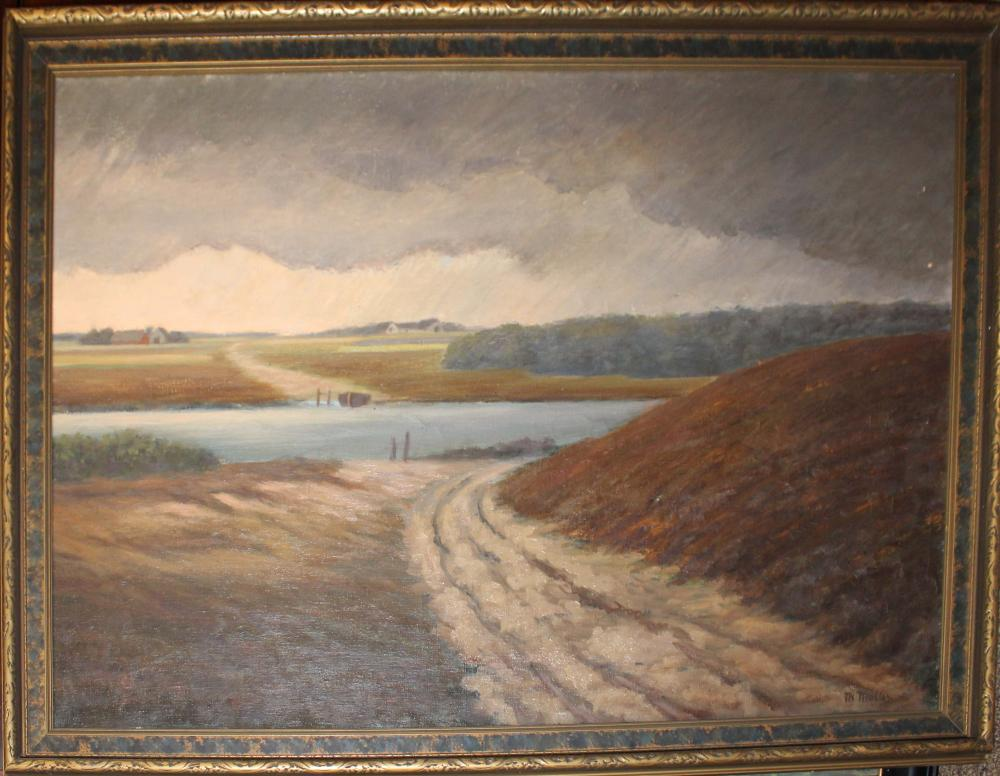 Circa 1910 Oil on canvas landscape signed TH Muller