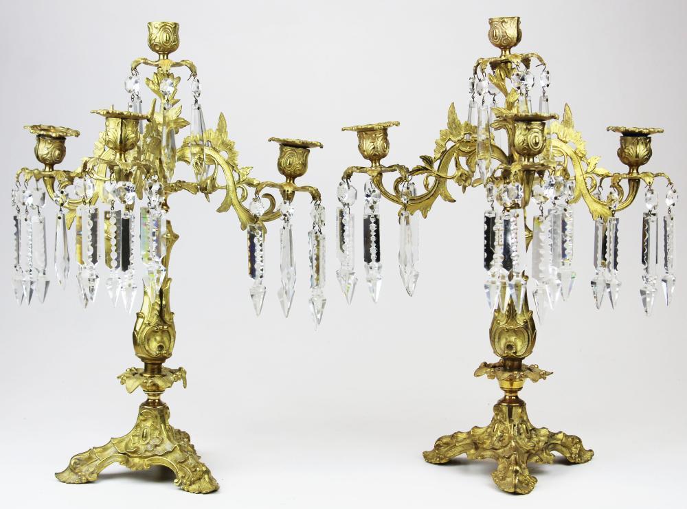 pr of French gilt brass prismed candlesticks