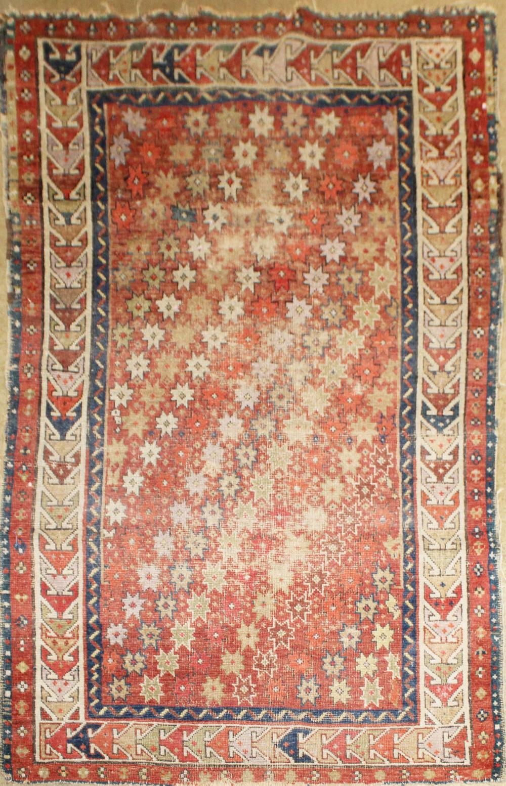 antique Persian Gendge pattern area rug