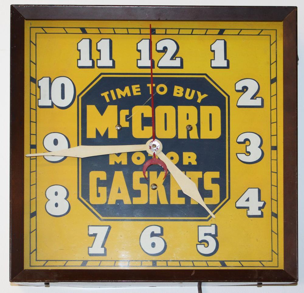 McCord Motor Gaskets advertising clock