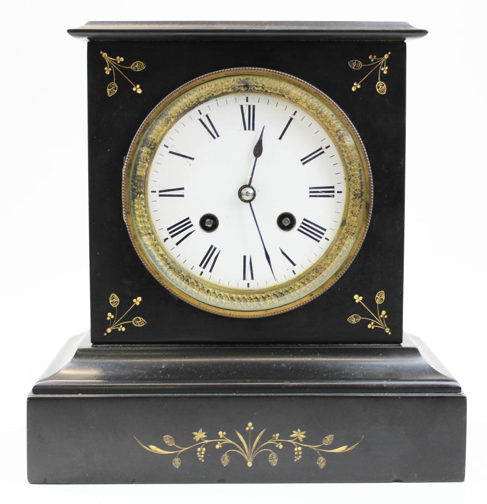 French black slate mantle clock
