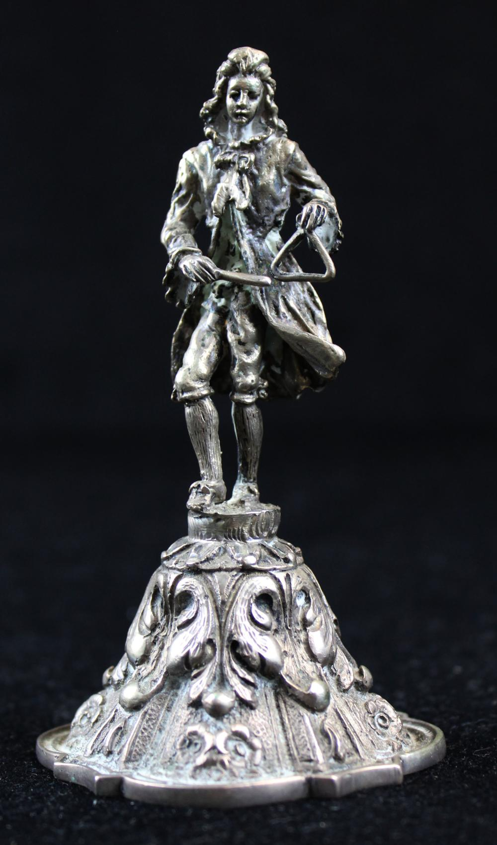 Continental cast 800 silver figural dinner bell
