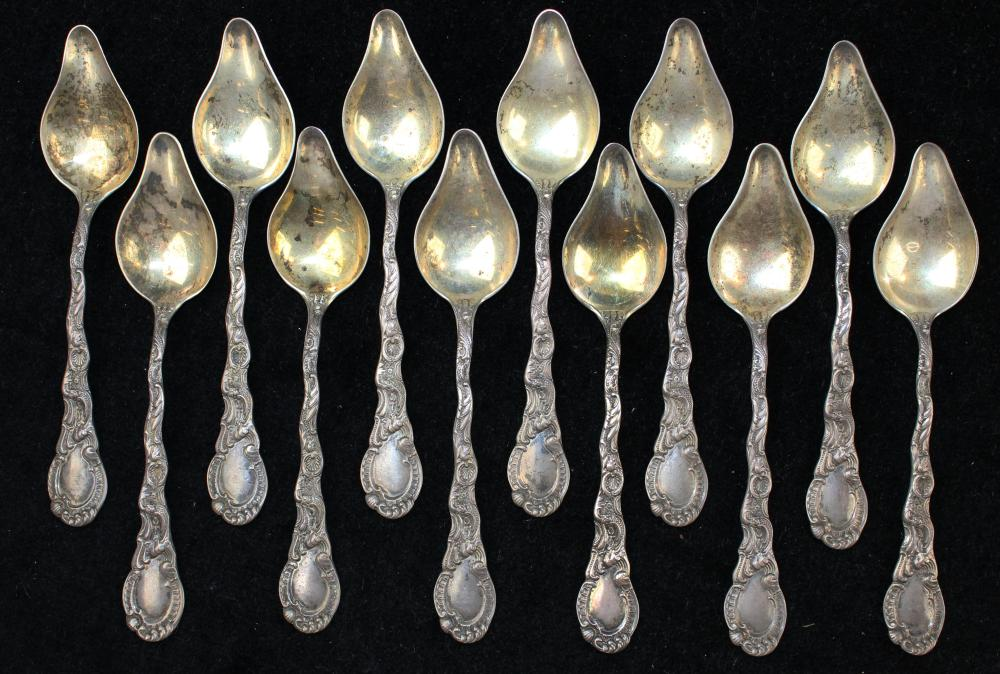 12 Durgin Louis XV sterling silver citrus spoons