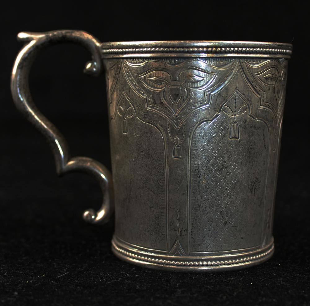 mid 19th c. American coin silver mug