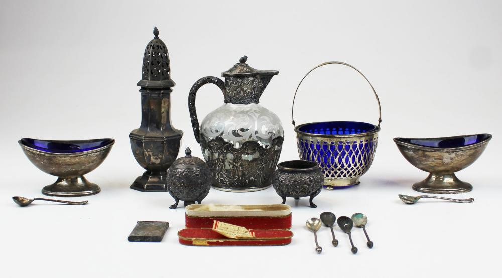 group of silver articles incl. sterling muffineer