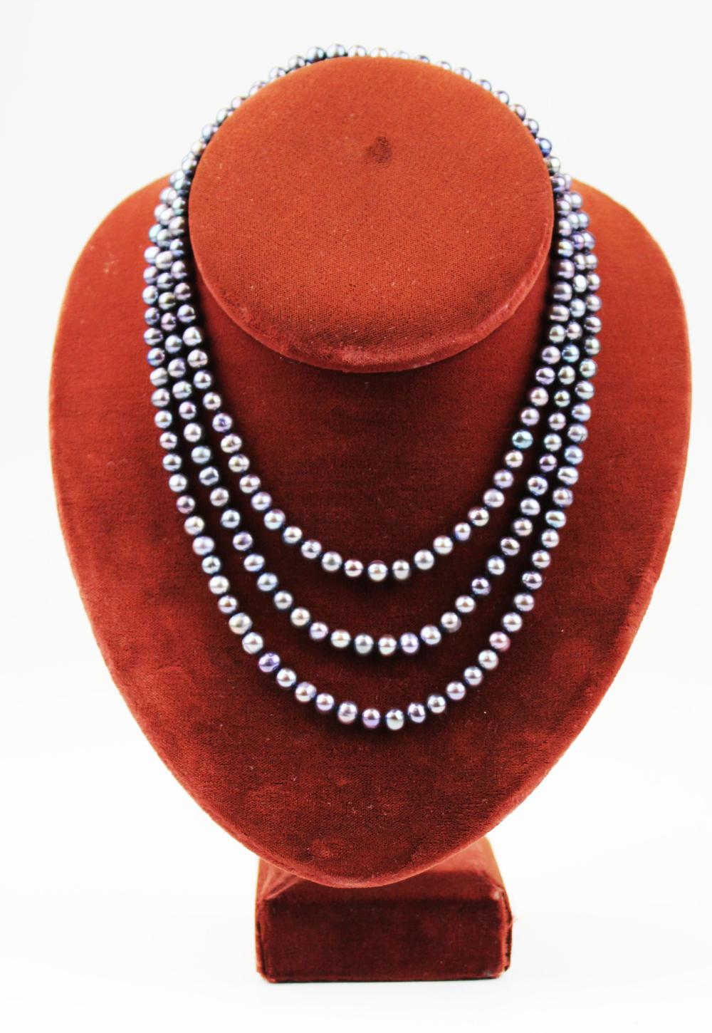 4 foot Black pearl necklace
