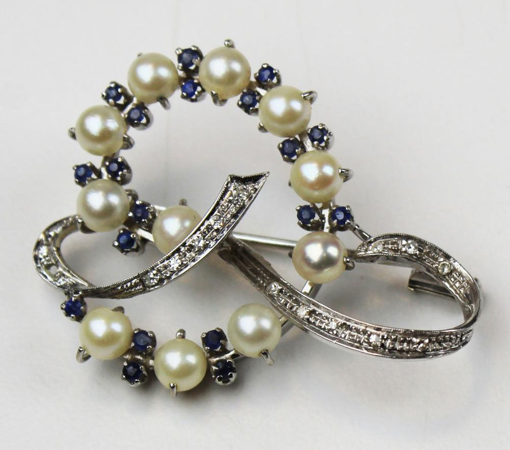 18k white gold, diamond, pearl, and sapphire pin