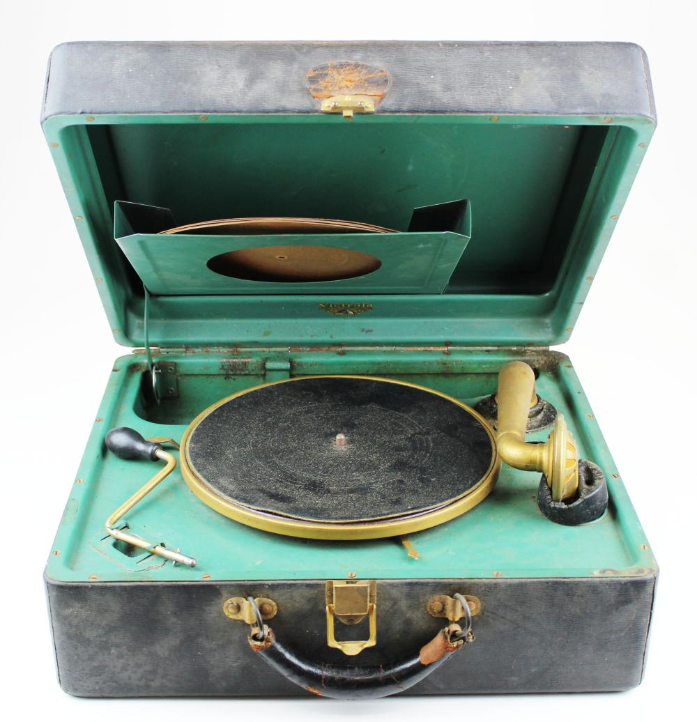 suitcase Victrolla portable phonograph