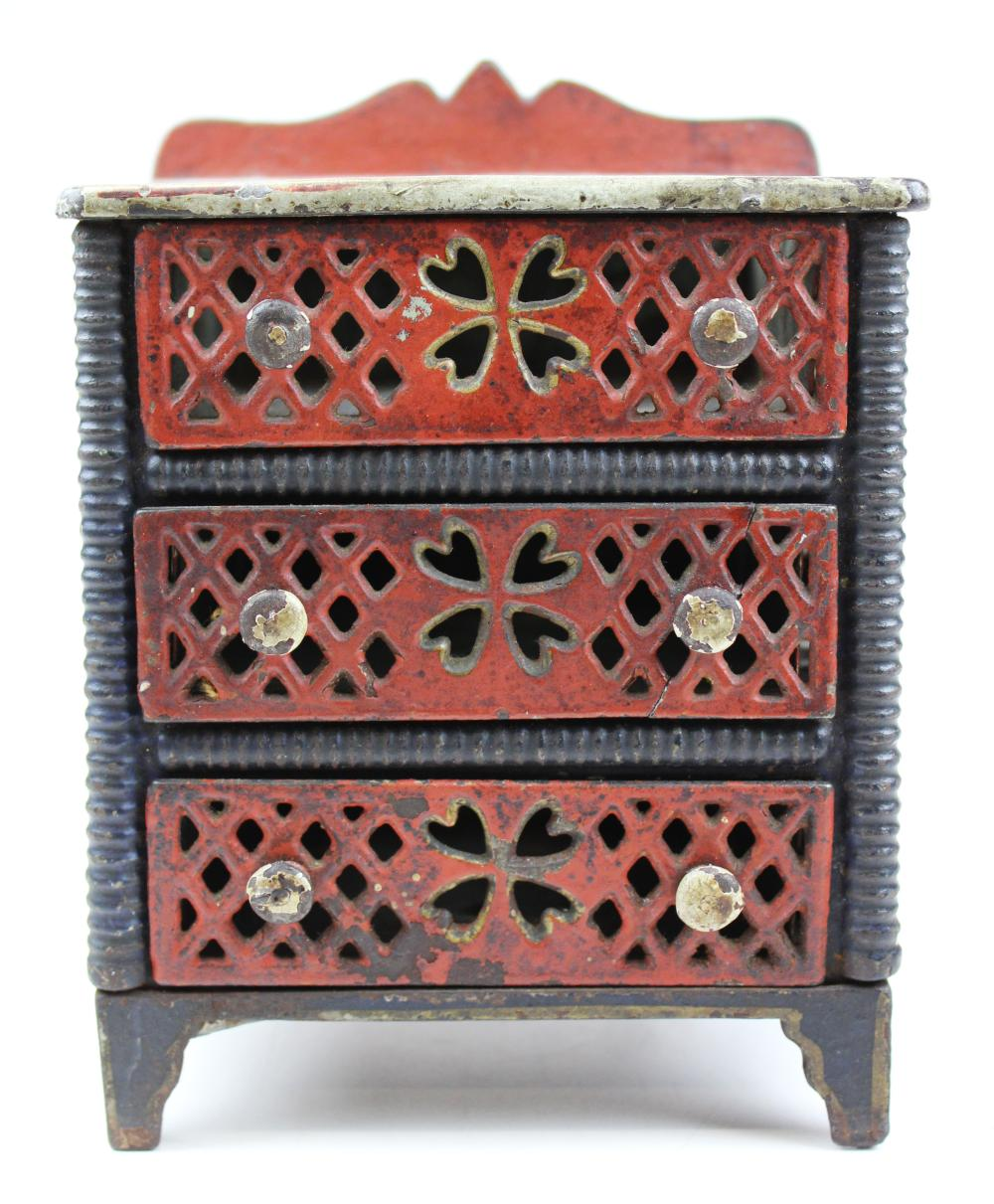 19th c cast iron doll chest of drawers