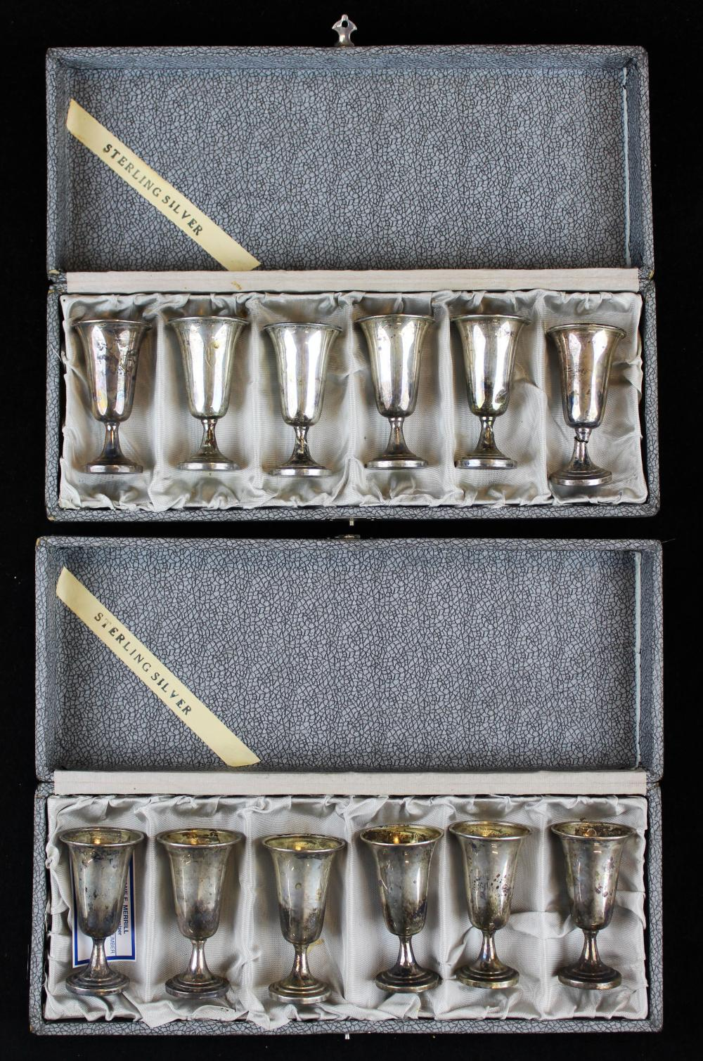 2 cased sets of 6 sterling silver cordial cups