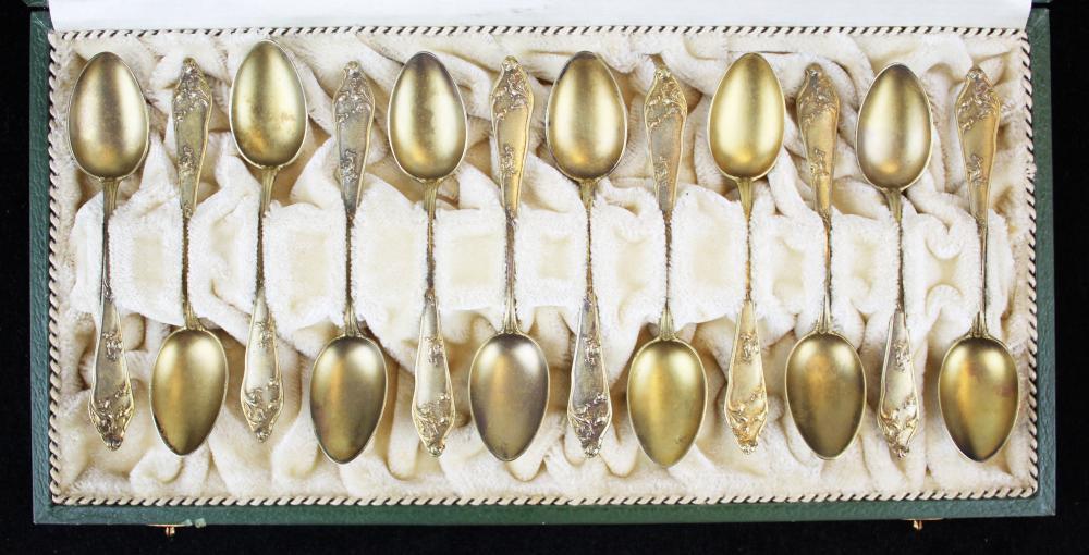 cased set of German 800 silver Art Nouveau spoons
