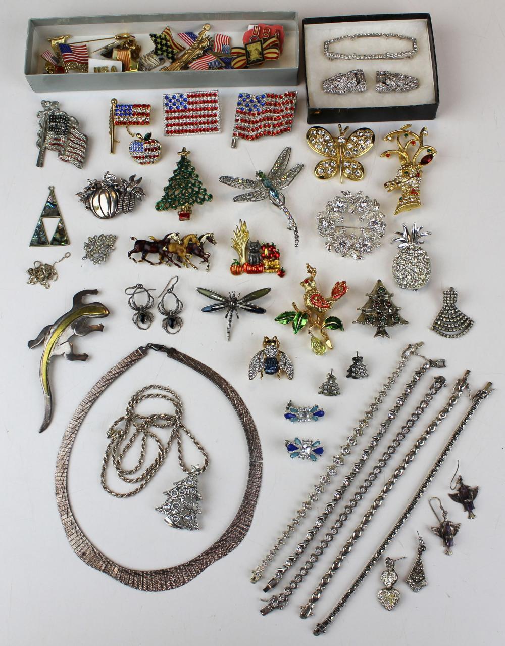 Sterling, figure, & rhinestone jewelry