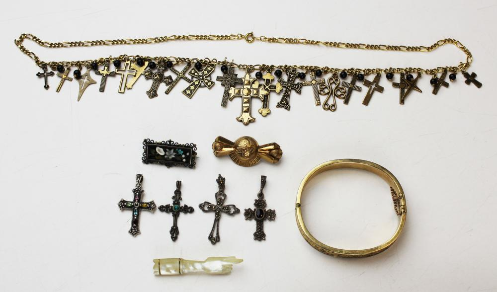 Group of Victorian jewelry and crosses