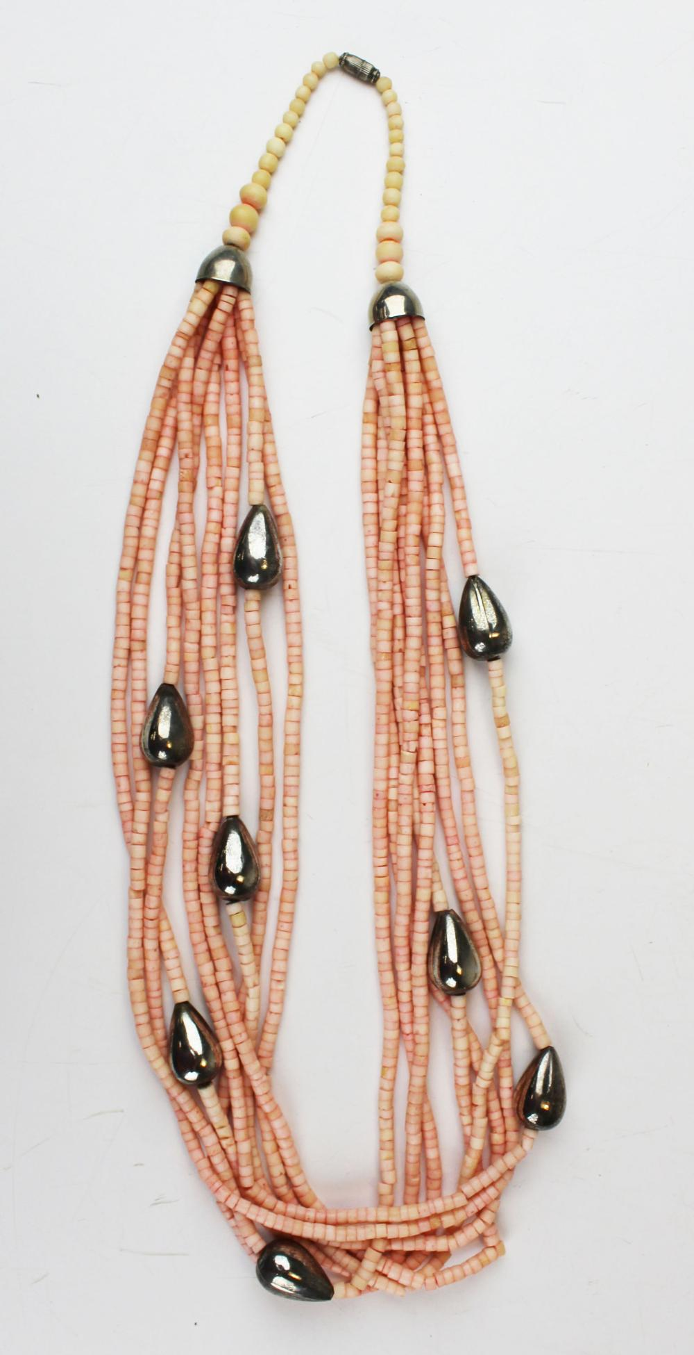 Sterling & pink coral necklace