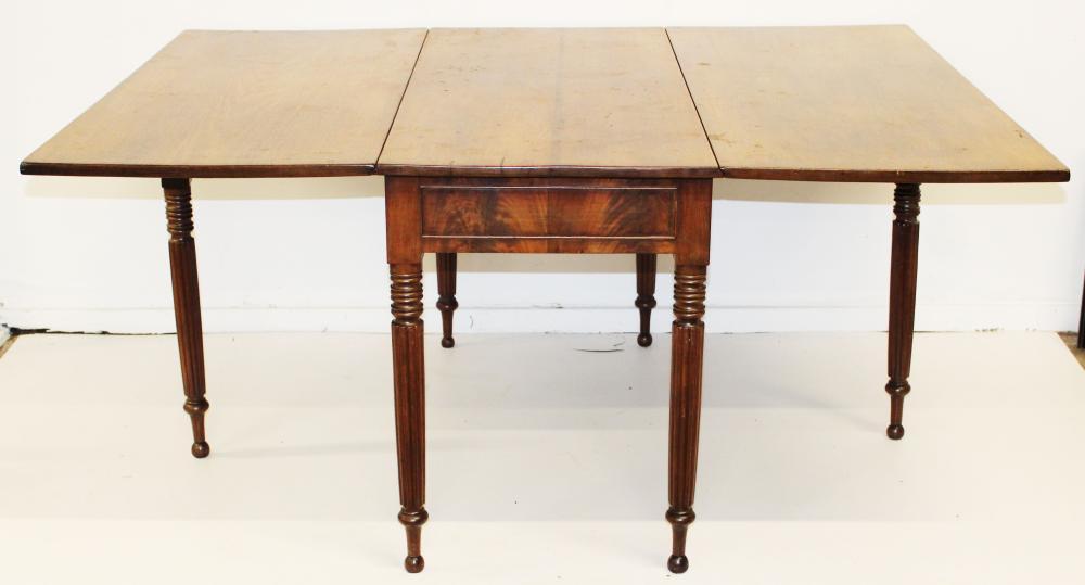 Sheraton reeded leg long drop leaf dining table