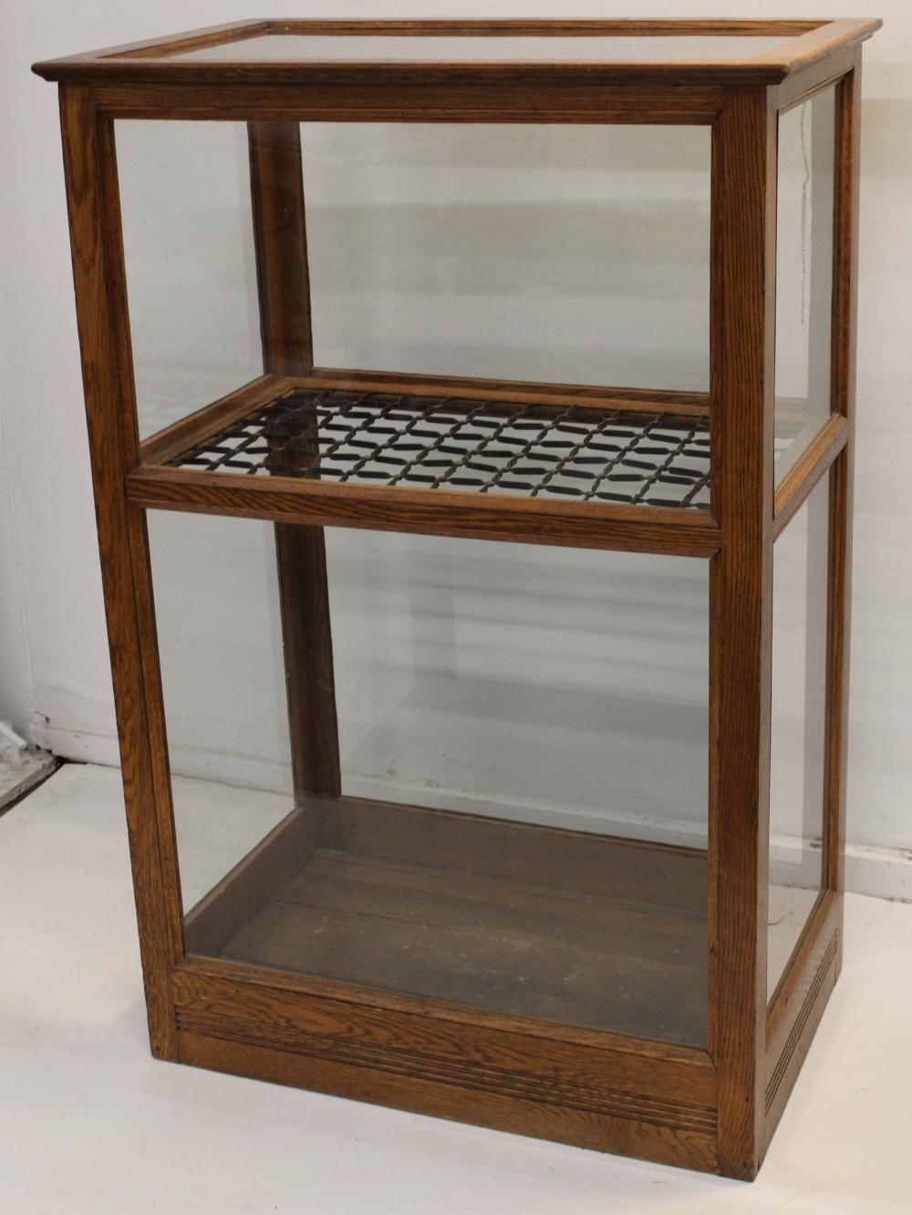 Victorian oak lift top cane display case