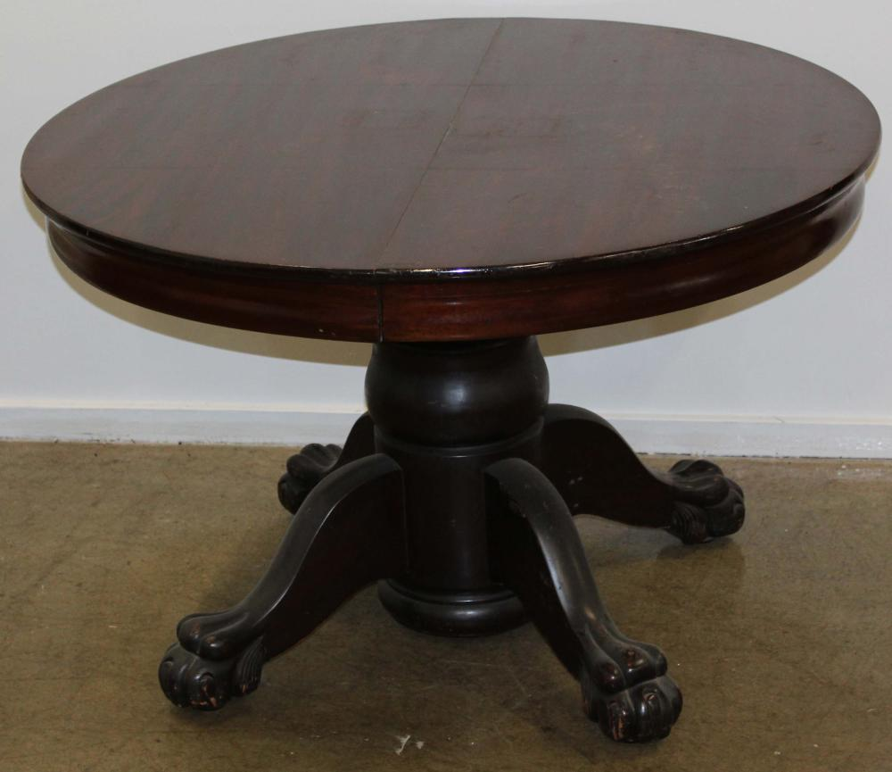 early 20th c mahogany center pedestal dining table