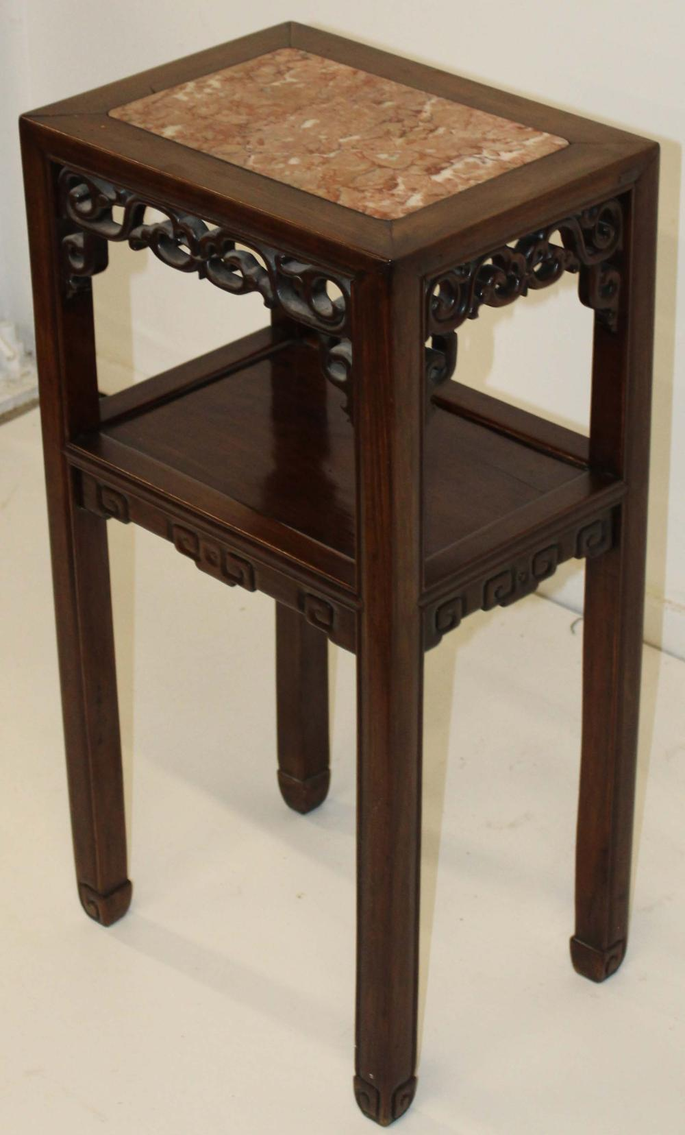 mid 20th c Chinese marble top stand