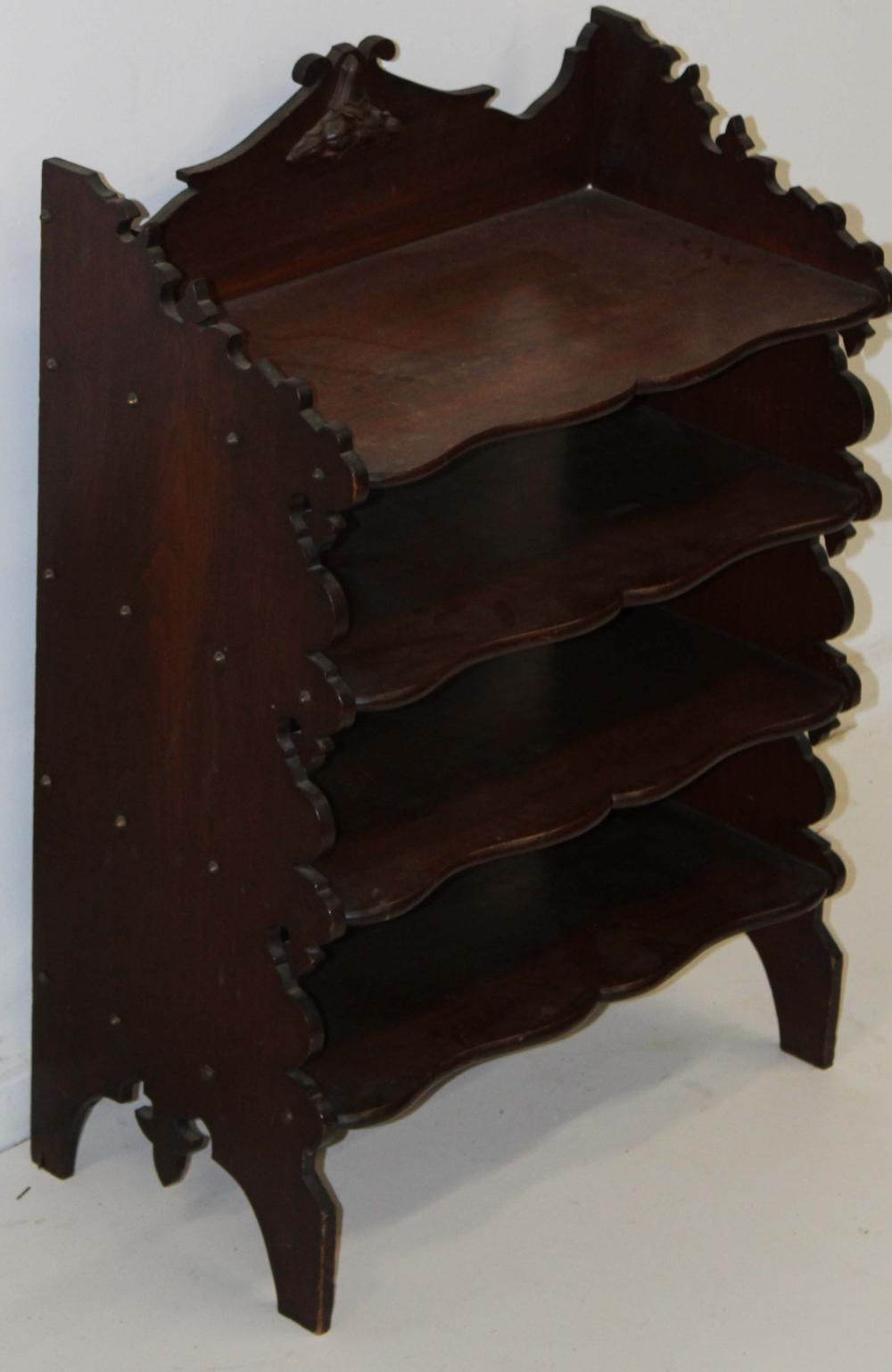 Victorian black walnut magazine shelf