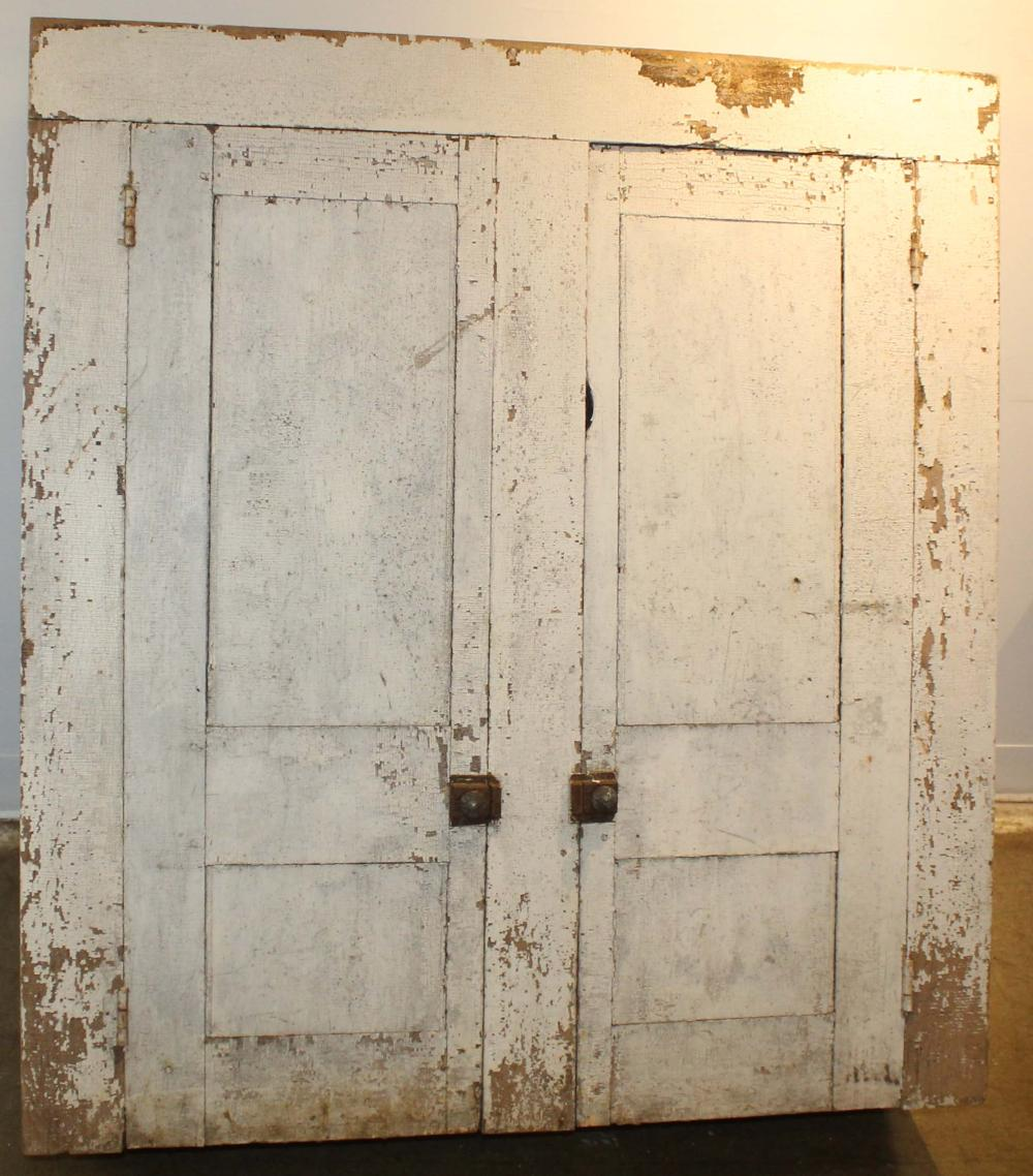 early 19th c white painted cupboard top