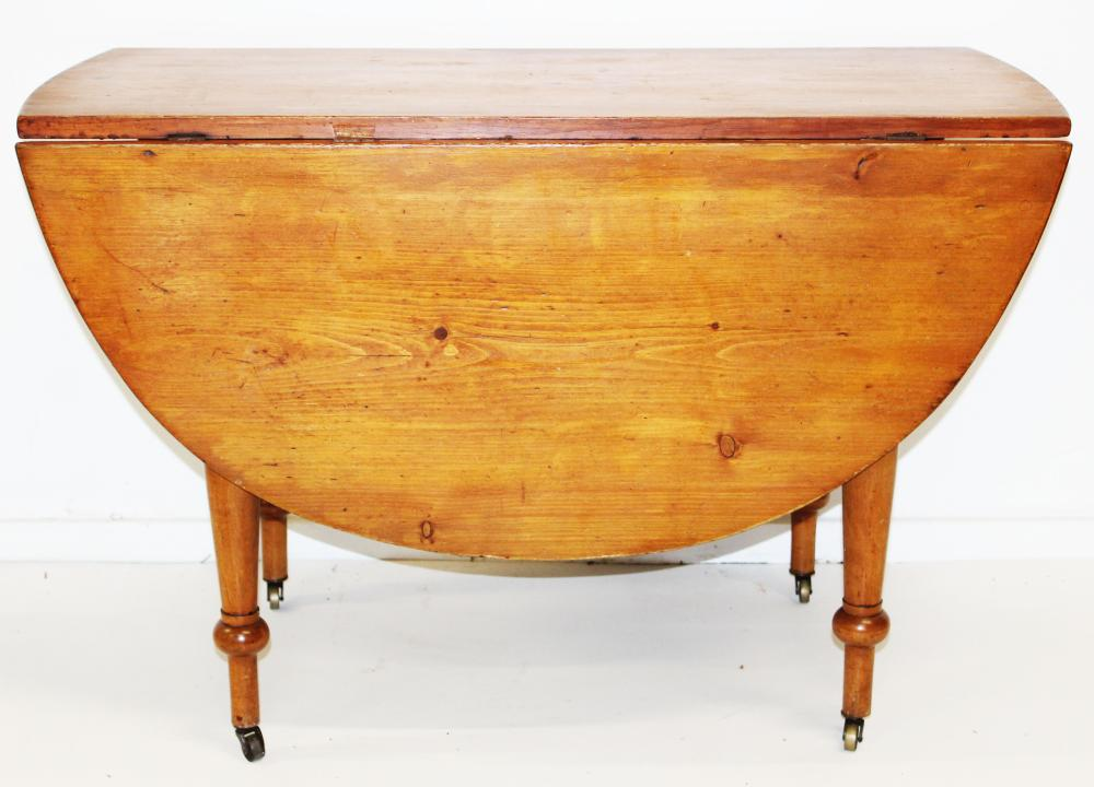 19th c pine drop leaf table with round leaves