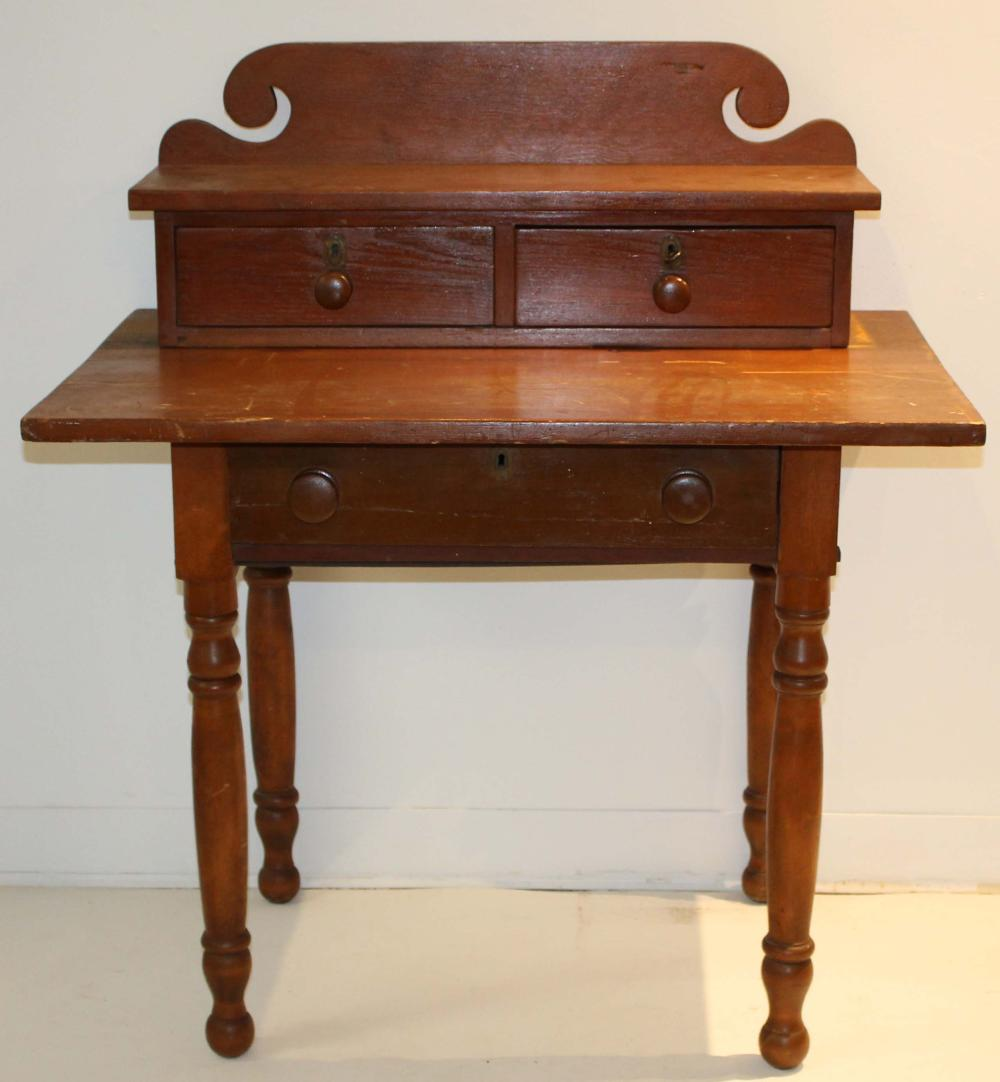 19th c Country Sheraton deck top sewing table