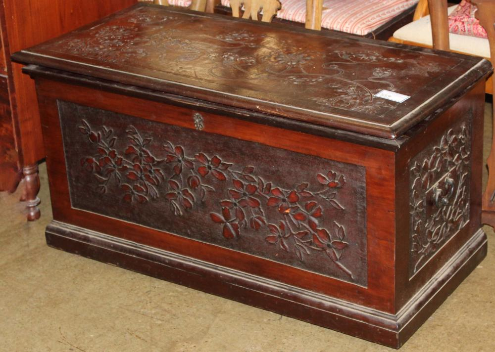 Art Nouveau carved & decorated blanket box