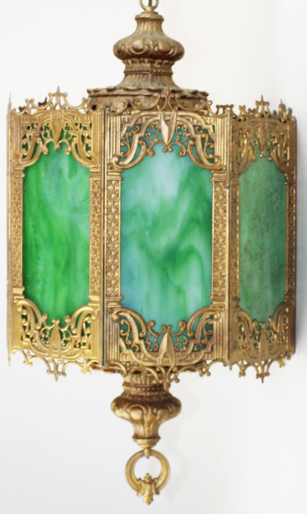 gilt metal 8 panel slag glass ceiling light