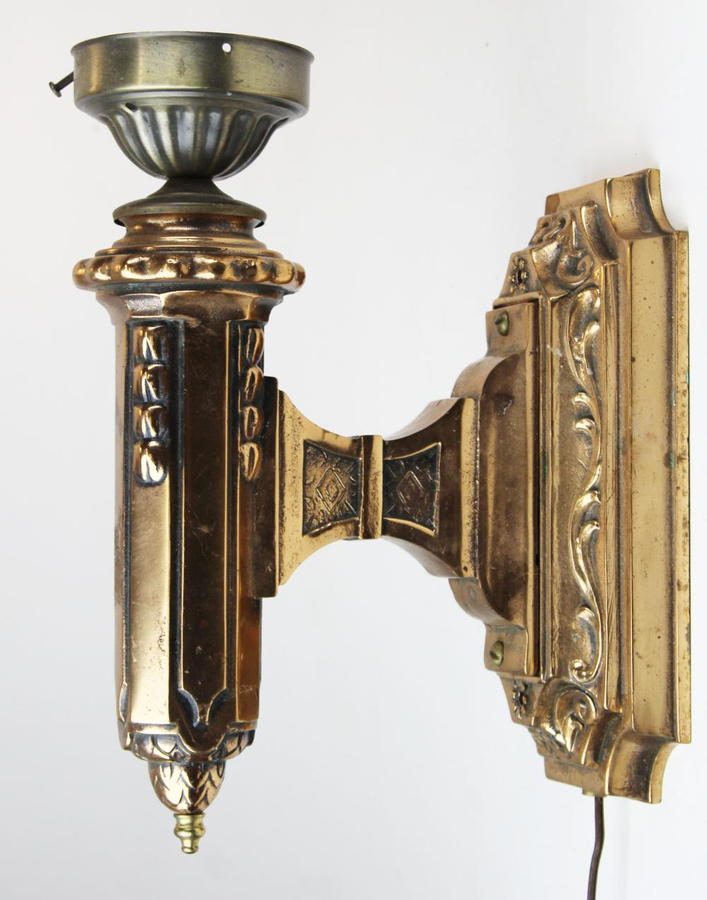 pr of ca 1900 brass light fixtures