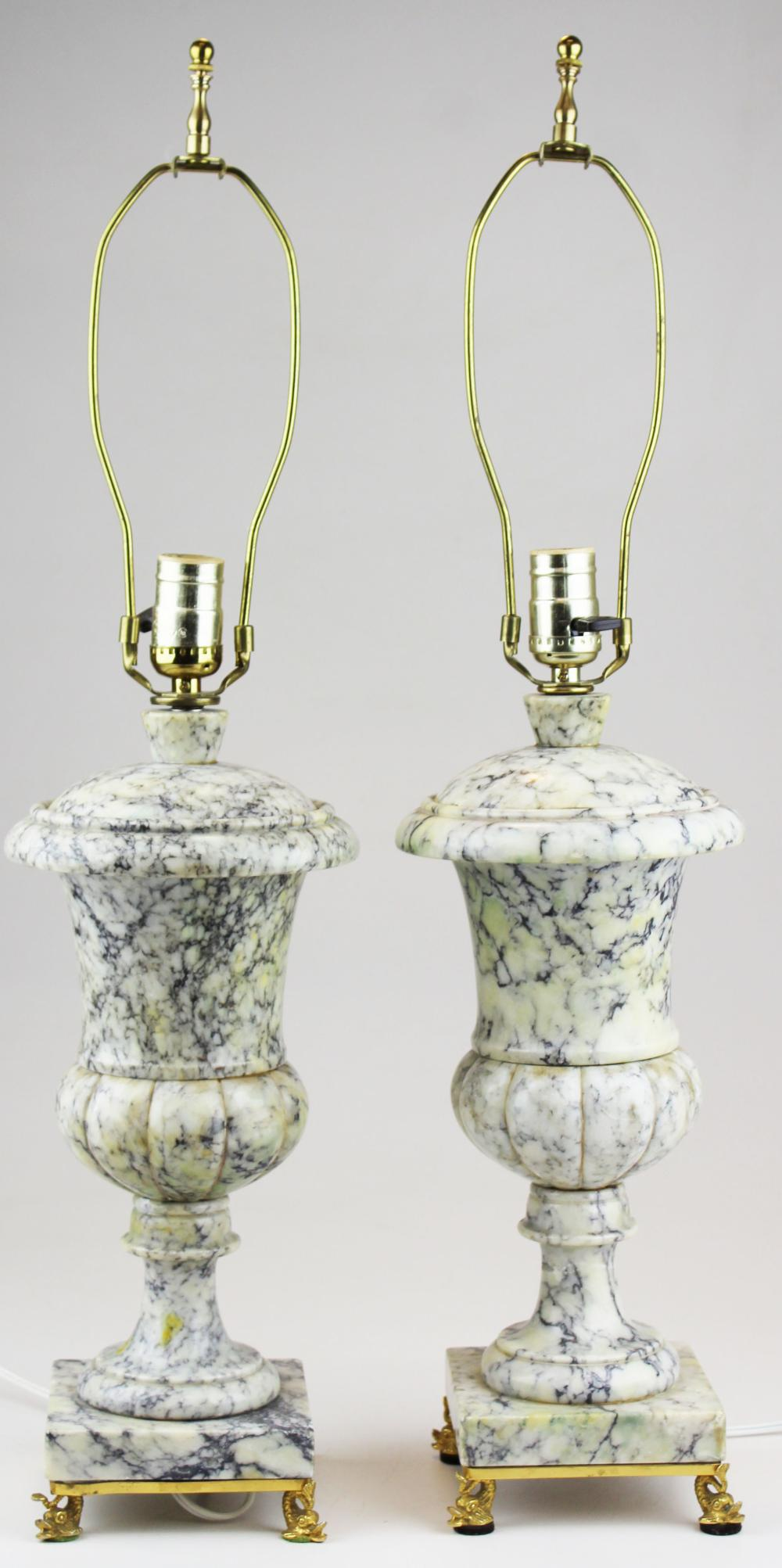 pr of 20th c gilt brass & marble table lamps