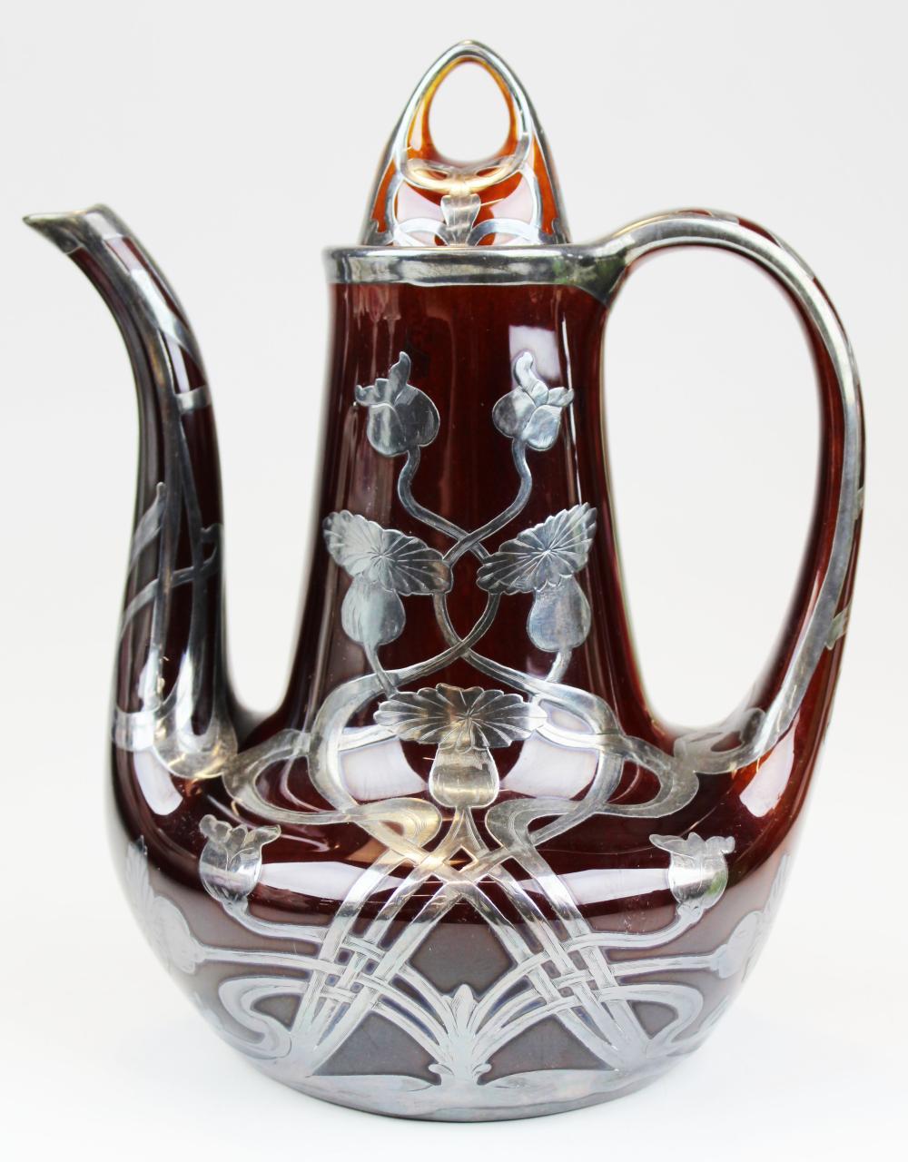 Lenox art nouveau sterling overlay teapot
