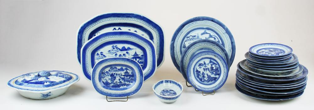 collection of Canton blue and white porcelain