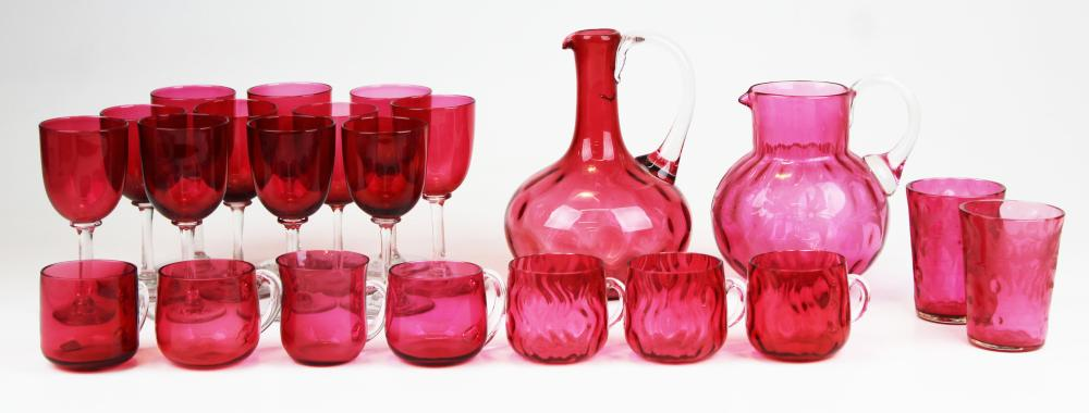 lot of Victorian cranberry glass tableware