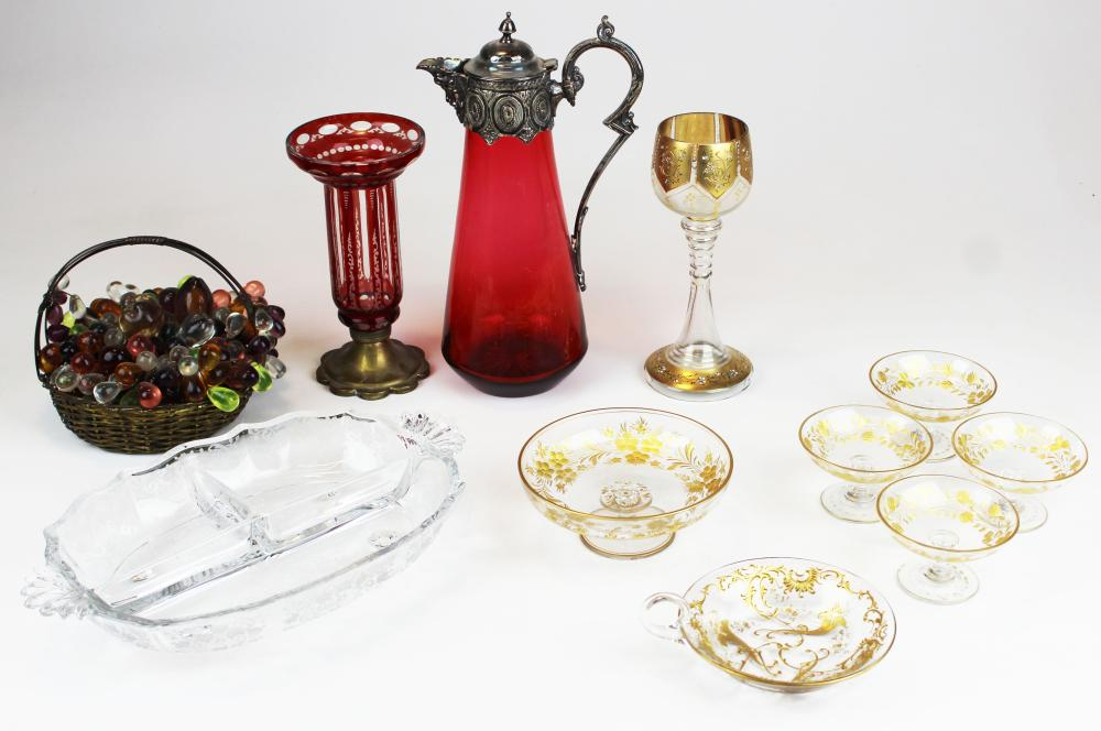 lot of Bohemian and other art glass