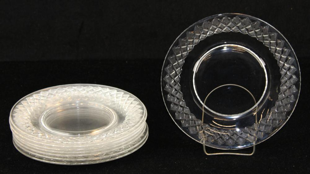 set of 8 signed Hawkes cut glass luncheon plates