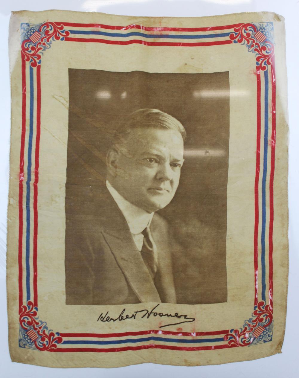 1928 Herbert Hoover printed cloth banner