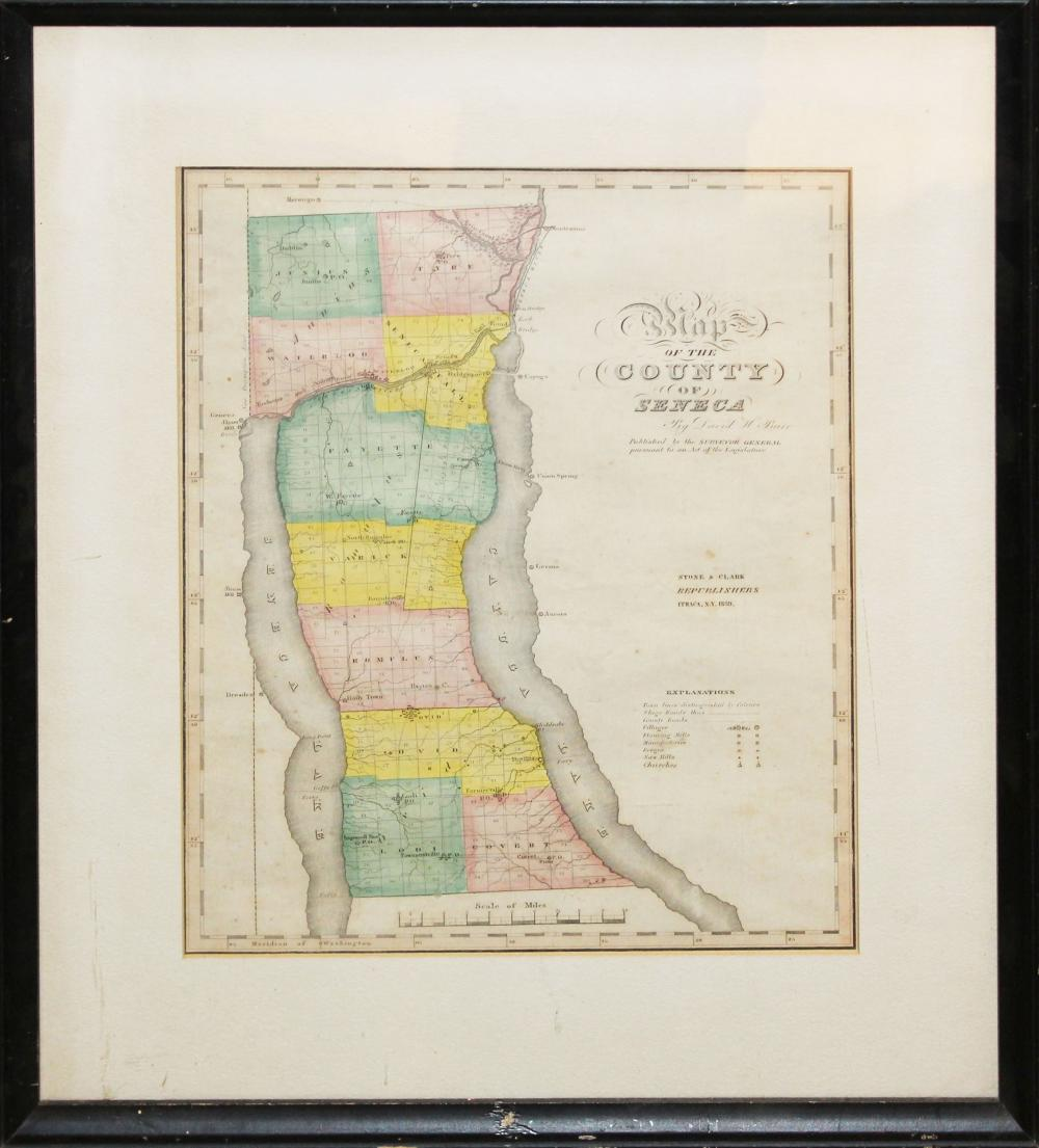 1839 Burr's Map of the County of Seneca, NY