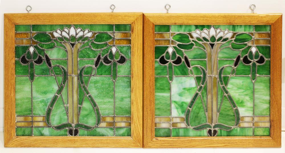 pr of leaded glass windows in new oak frames