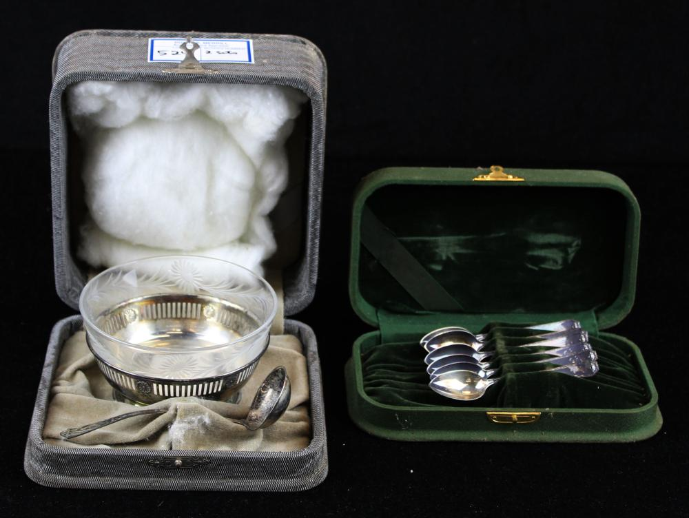 cased sterling sauce dish and 6 demitasse spoons