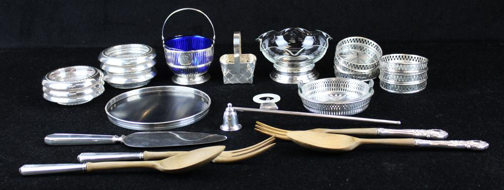 lot of sterling silver and glass tableware