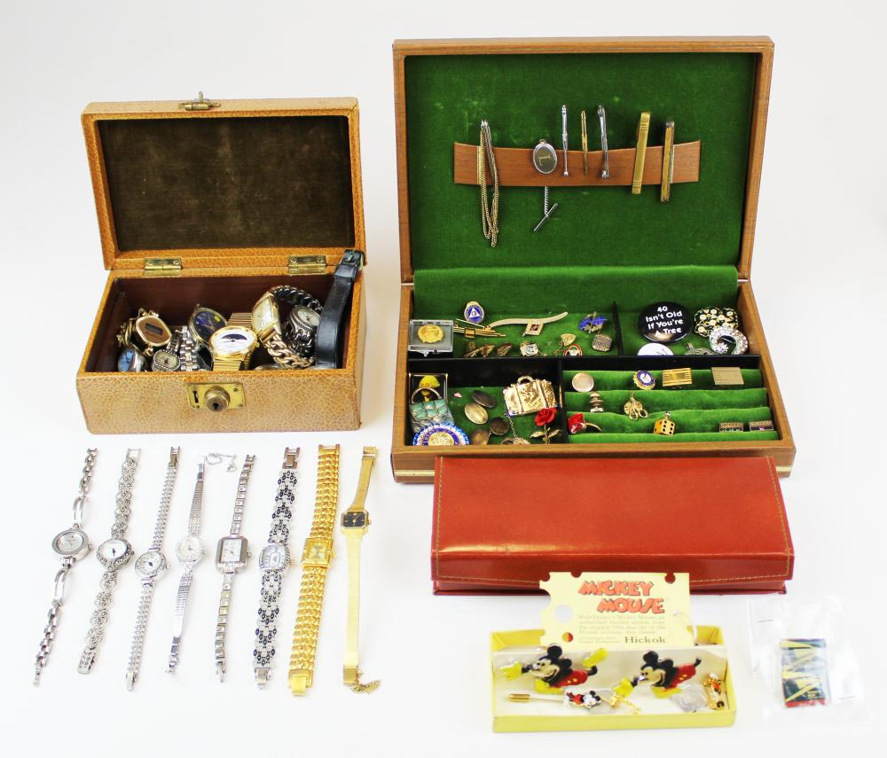Group of men's jewelry and wrist watches
