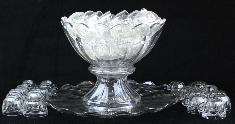 Heisey Colonial punch bowl with cups and tray