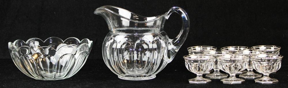 Heisey glass pitcher, bowl and 8 sherbets