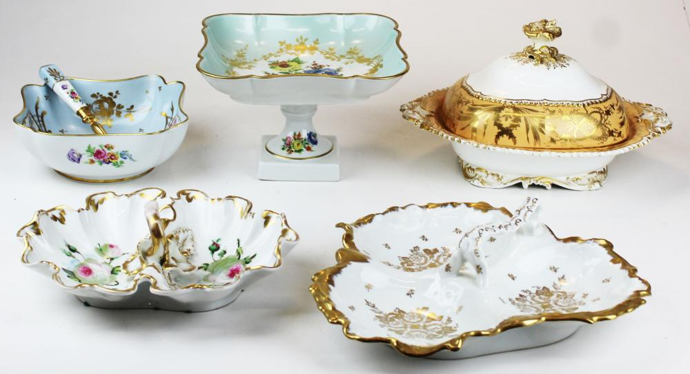 Limoges and English porcelain serving ware