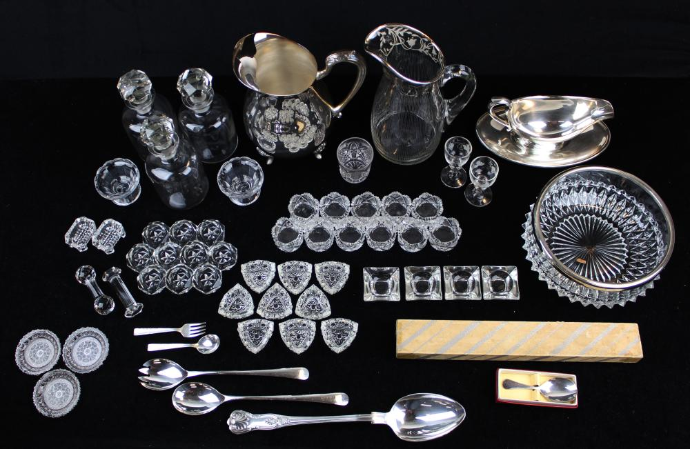 lot of glass and silver plated tableware