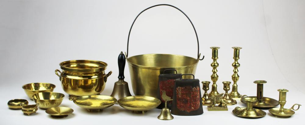 19th- 20th c brass pots, candlesticks, etc