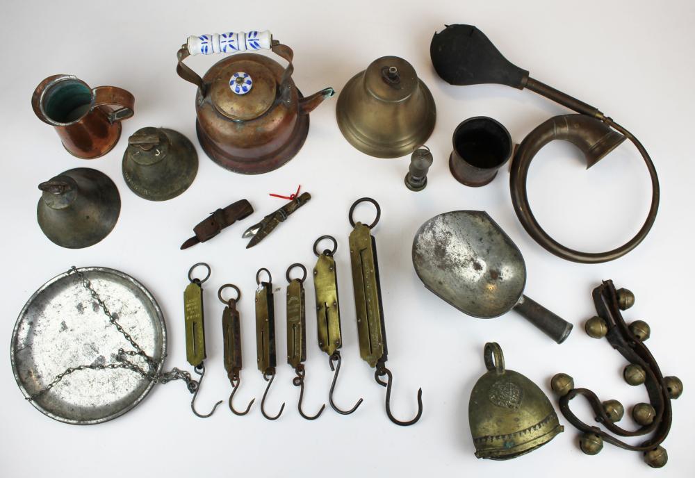 brass bells, copperware, scales, etc